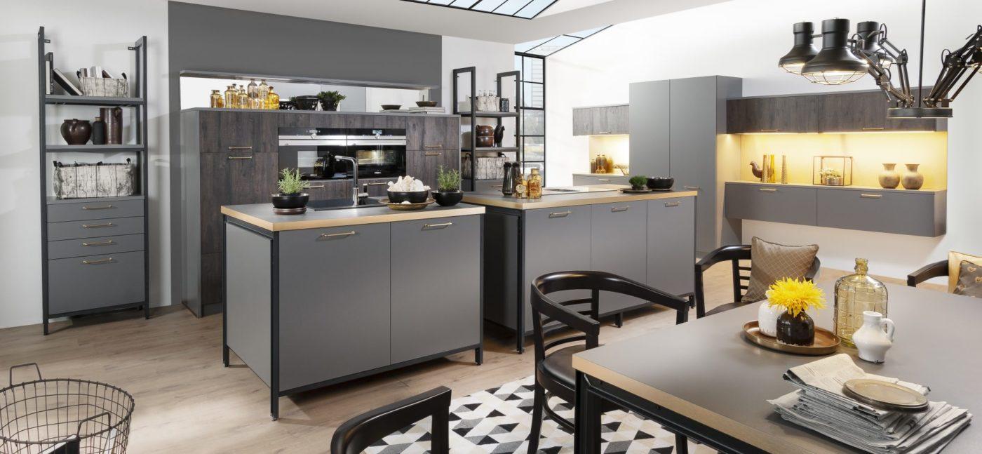 Bauformat Berlin | London Inselküche Modern grau