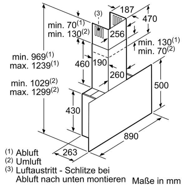 Bosch Wandesse Dunstabzug Design Klarglas schwarz Detailzeichnung DWF97KS69