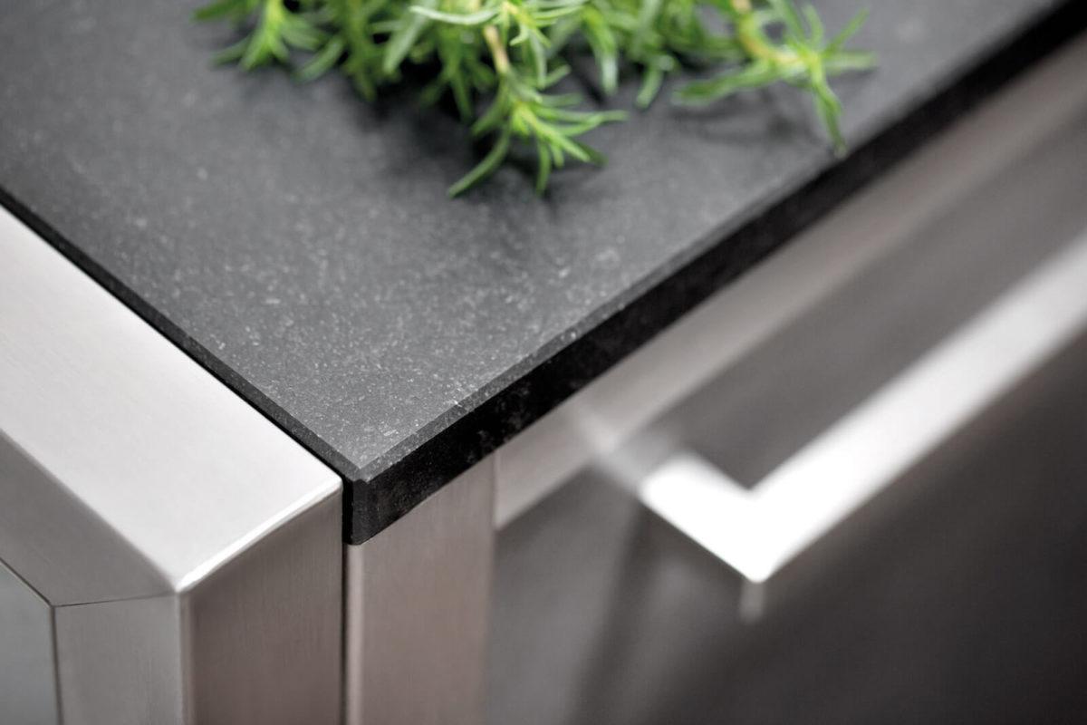 Burnout Outdoor Küchen Arbeitsplatte Steinplatte schwarz