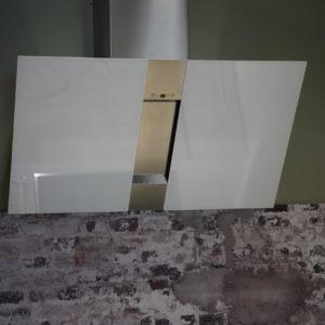 Design Kopffreihaube aus weißem Milchglas Dunstabzug