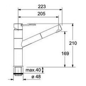 Franke Armatur 251 Zugauslauf Chrom Hochdruck Detailzeichnung 115.0006.518