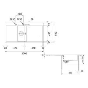 Franke Crystal Line Küchenspüle 127.0338.969 Detailzeichnung