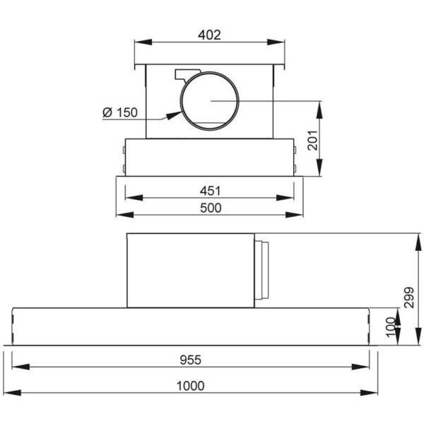 Franke Galaxy Deckenhaube Einbau Dunstabzug Edelstahl Detailzeichnung 110.0250.356