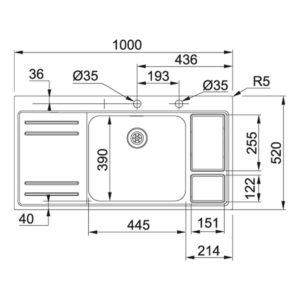 Franke Küchen-Spüle Largo Work Center Edelstahl Detailzeichnung 115.0006.518