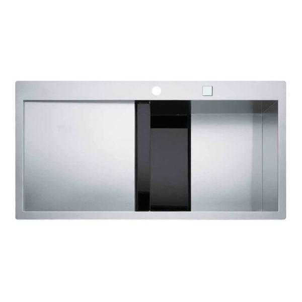 Franke Küchenspüle Crystal Line 214 Edelstahl schwarzes Glas 127.0338.969