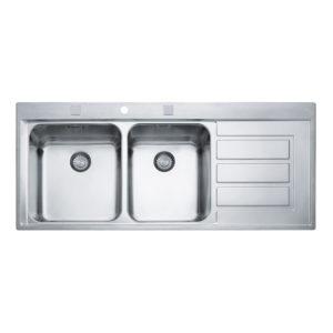 Franke Küchenspüle EPOS EOX 621 Zweibeckenspüle Tropffläche rechts 101.0175.871
