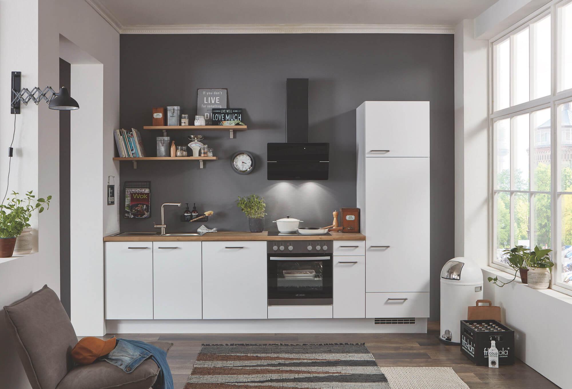 Nobilia Elements Küchenzeile weiß mit Holz Arbeitsplatte