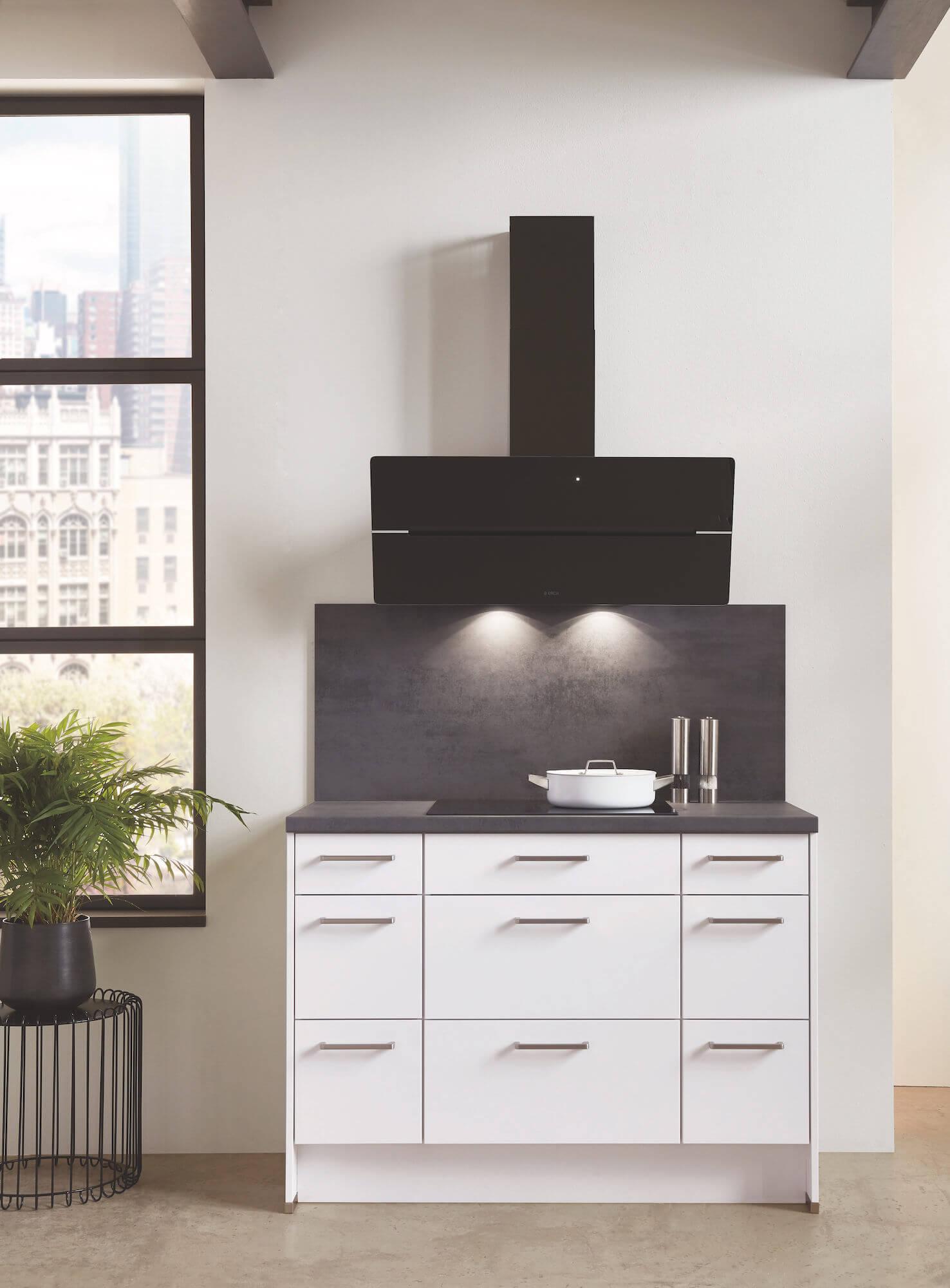 Nobilia Elements Moderne Küche Küchenblock Elica Kopffreihaube
