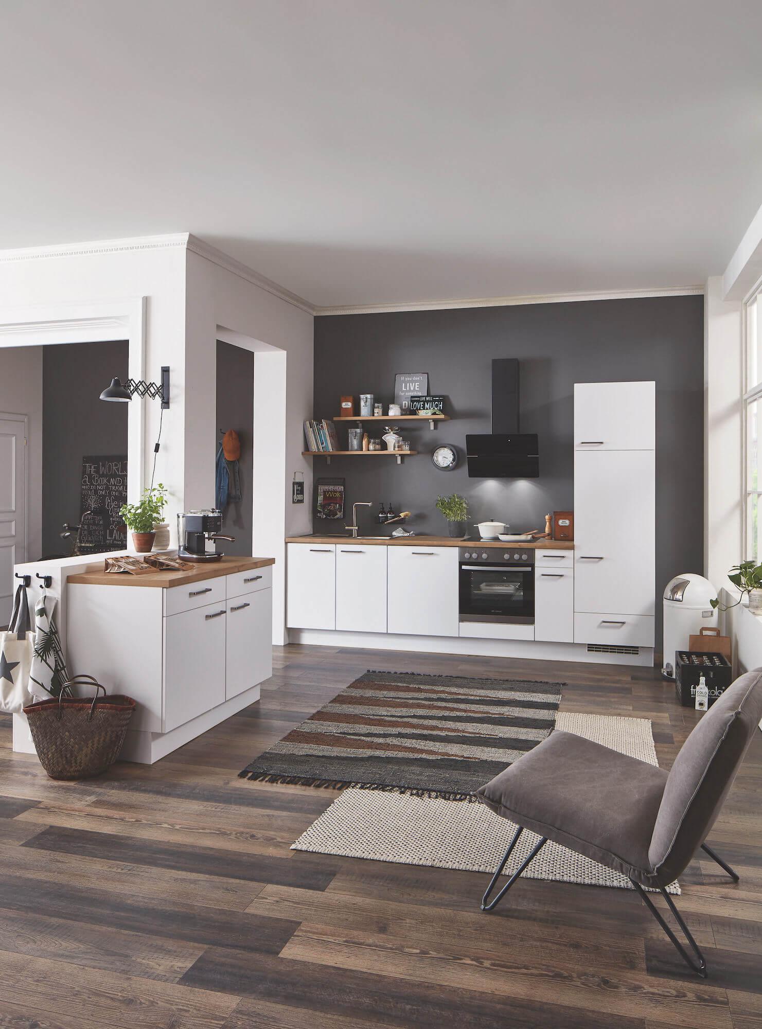Nobilia Elements moderne Küchenzeile weiß braune Arbeitsplatte