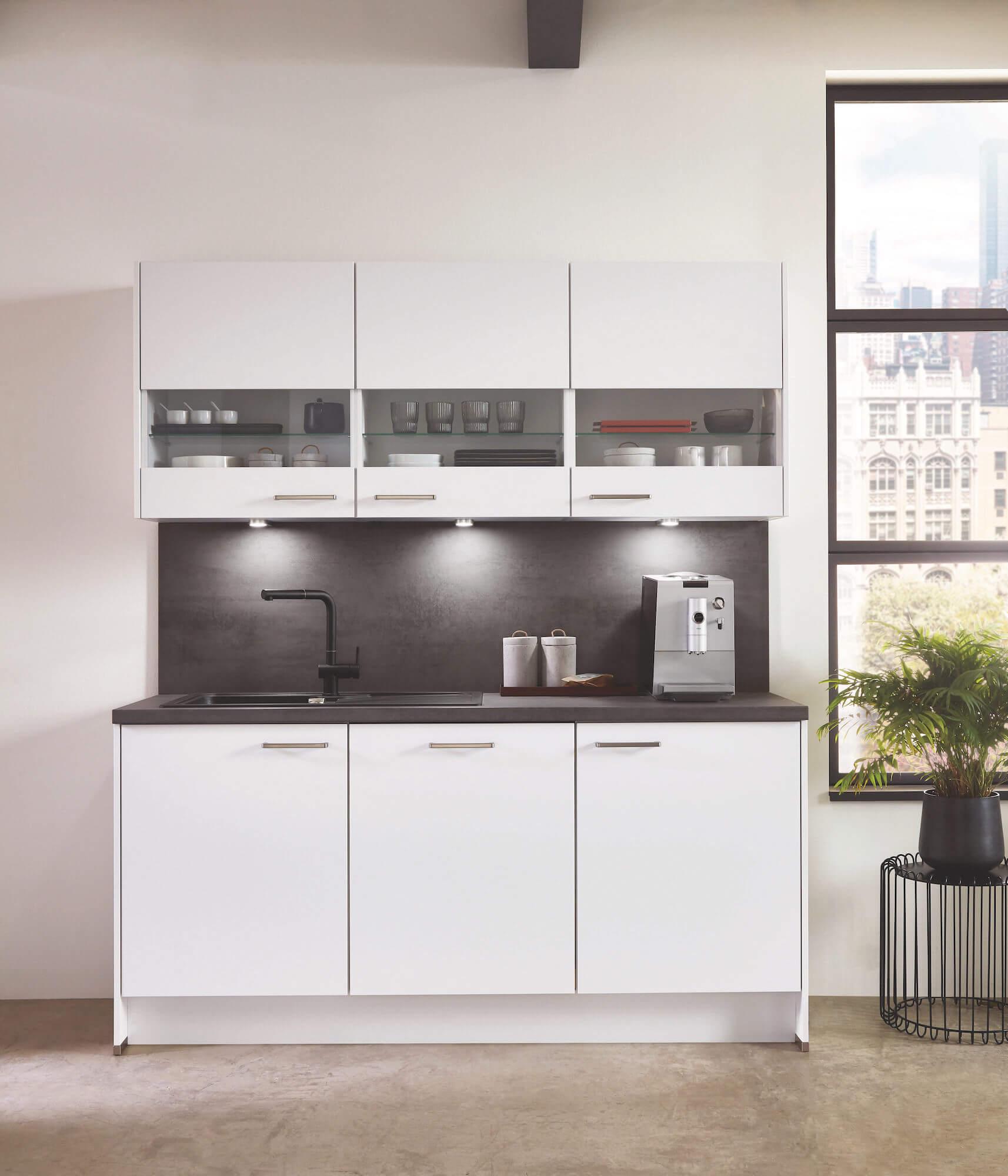 Nobilia Elements weiße Küche Modul mit Spüle