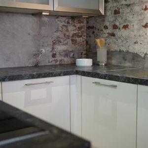Nobilia Focus U-Küche hochglanz Lack weiß Marmor Edelstahl Küchenspüle