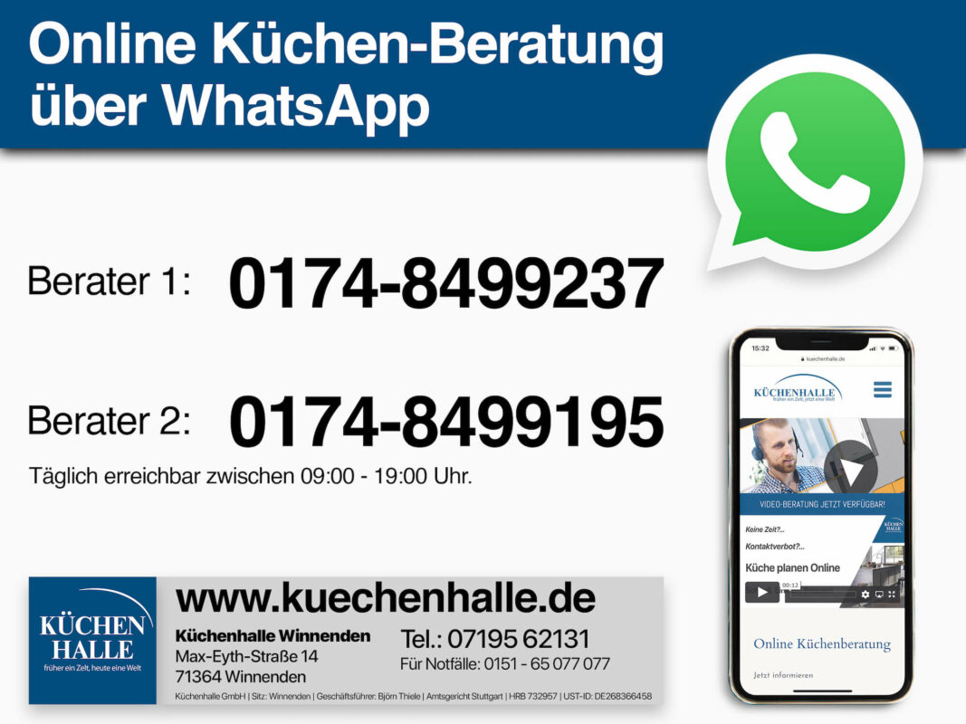 Küchenhalle WhatsApp Beratung Videochat und Nachricht klein