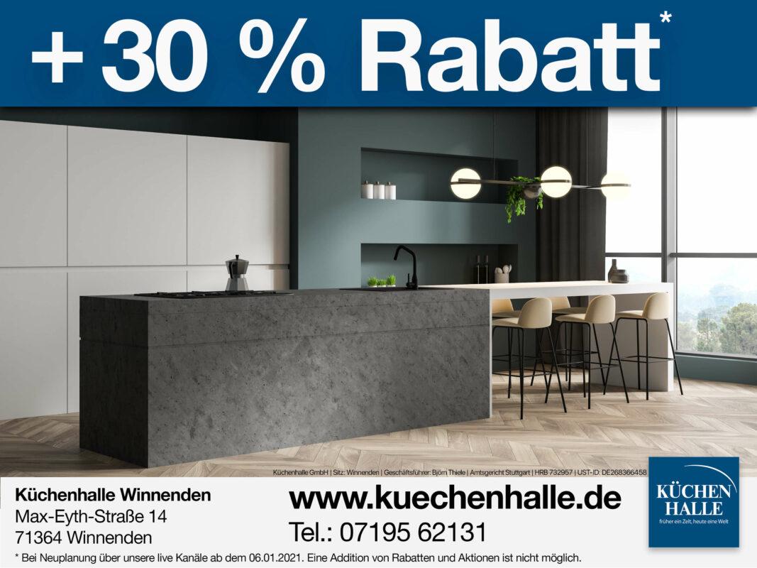 Küchenhalle 30 % Rabatt auf live Küchenplanung