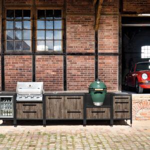 Burnout Küchenzeile Outdoor Küchen Dark Oak mit Big Green Egg Napoleon Grill und Kühlschrank