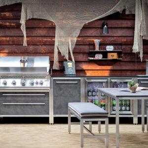 Burnout Küchenzeile Outdoorküche modern Kühlschränke Napoleon Grill und Spüle